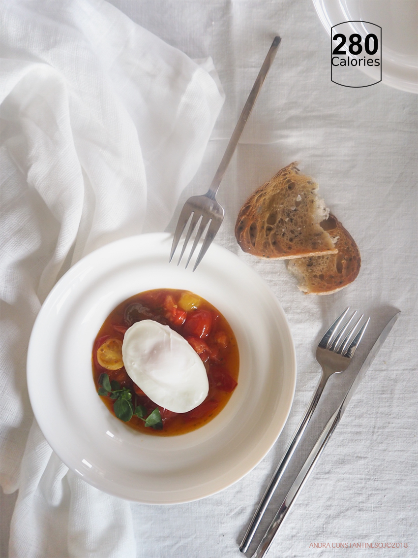 Confit Tomato with Poached Egg on a white plate ready to be served for breakfast