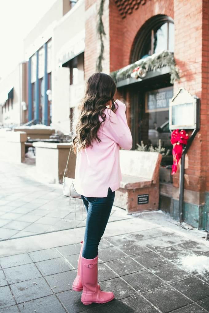 jcrew pink vneck tunic