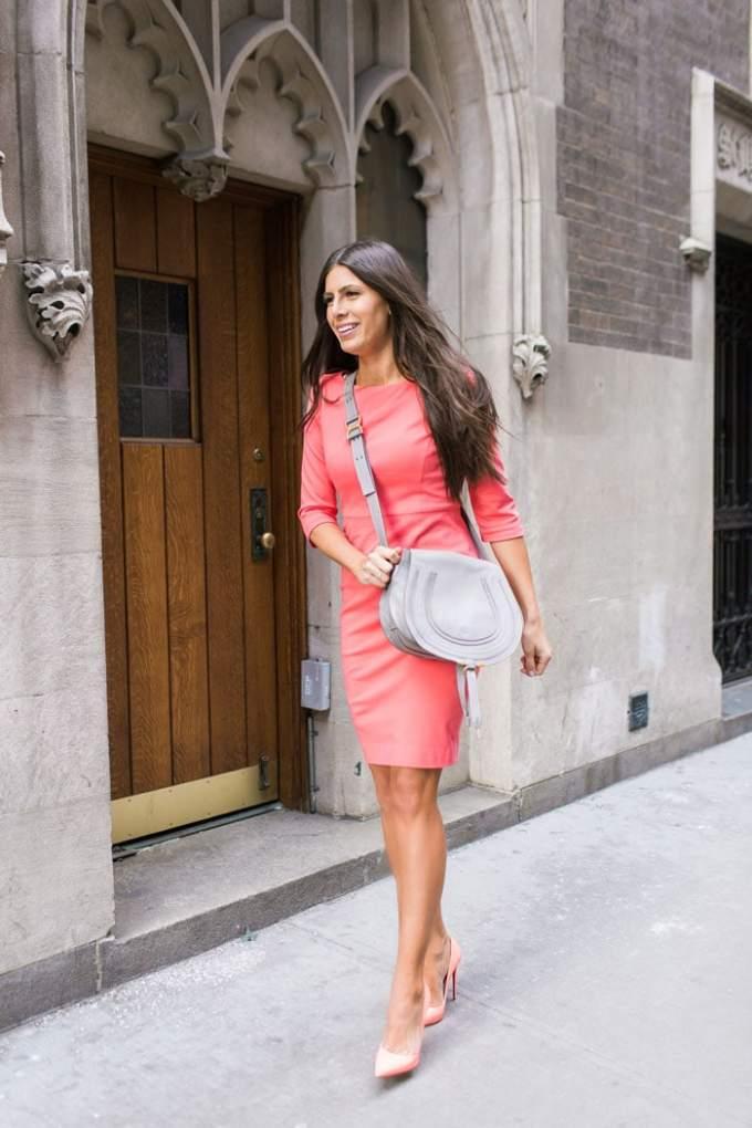 coral dress with gray chloe bag