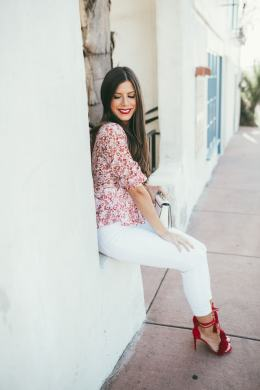 the cutest red and white spring outfit! LOVE the peplum top with the red spring heels