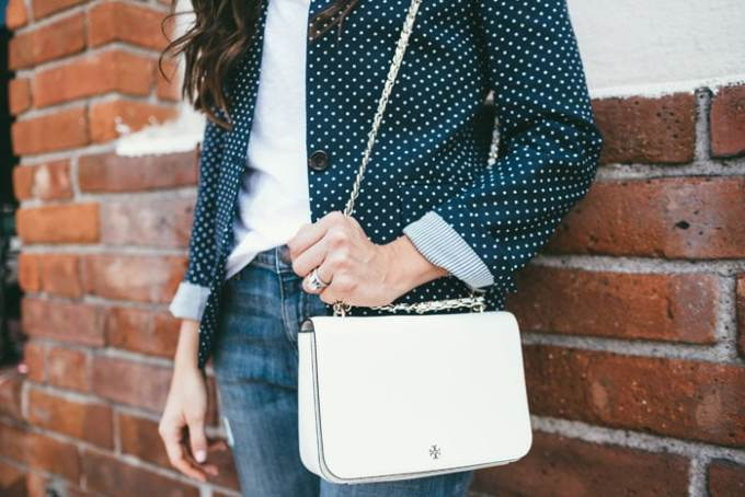 Casual look polka dot blazer and jeans