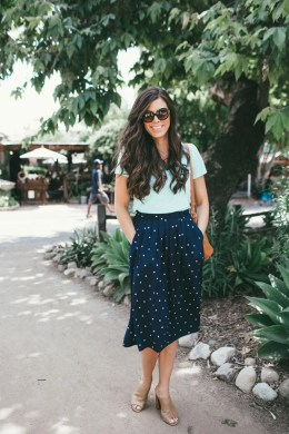 Cute polka dot skirt matched with teal shirt