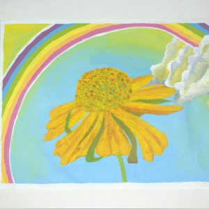 painting of yellow flower with sky and rainbow in background