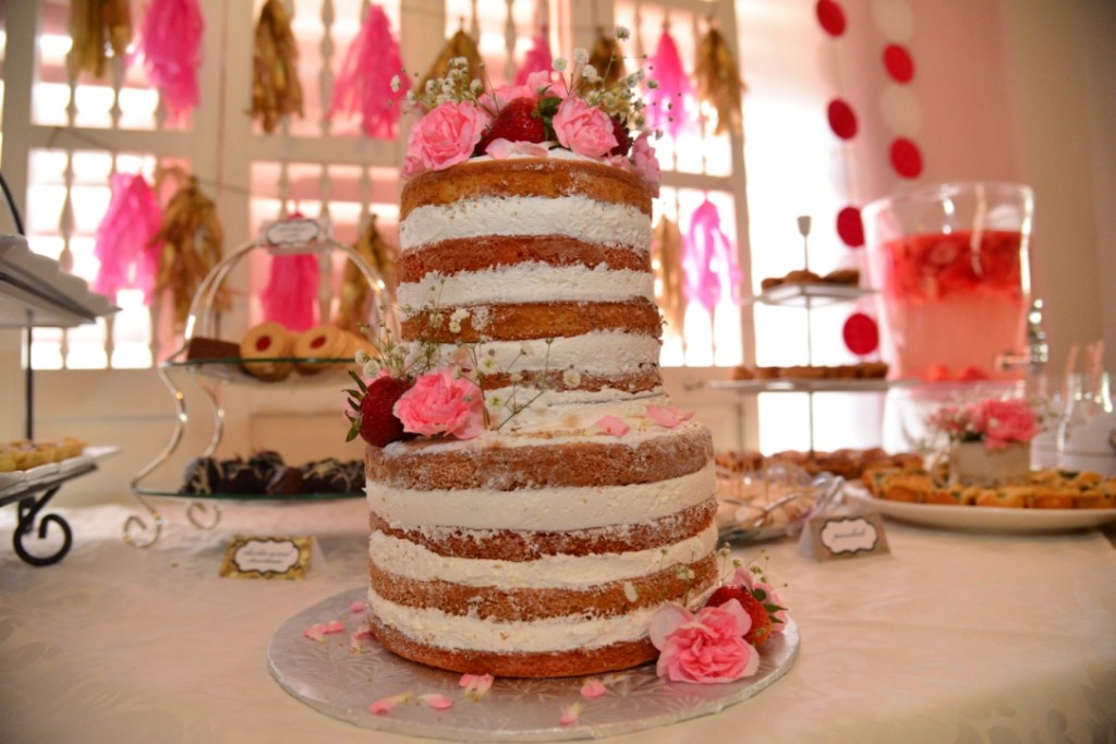 Garden Tea Party Bridal Shower - Beautiful naked cake for a rustic bridal shower
