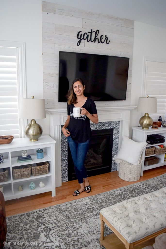 DIY Farmhouse Style Barnwood Accent Wall by Mint Candy Designs