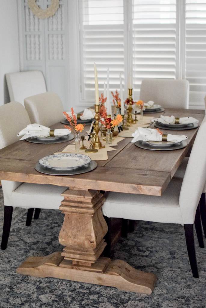 glass and brass fall tablescape