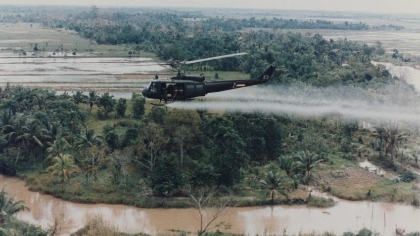 U.S. Huey helicopter spraying Agent Orange over Vietnam. (Photo by the U.S. Army Operations in Vietnam R.W. Trewyn, Ph.D.)