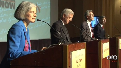 Screen shot of 2012 third party presidential debate aired on Ora TV Tuesday, October 23, 2012. From left, Green Party candidate Jill Stein, Justice Party candidate Rocky Anderson, Constitution Party candidate Virgil Goode, and Libertarian Party candidate Gary Johnson.