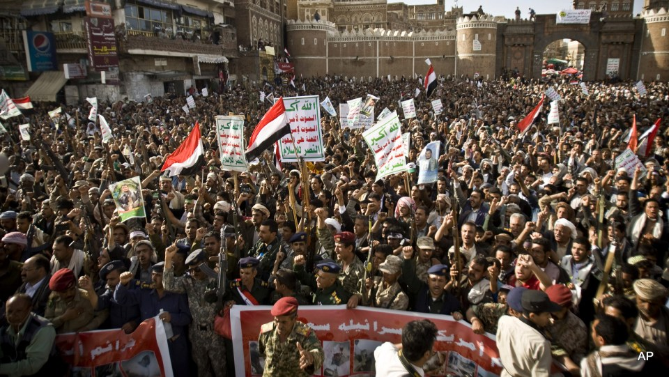 Houthis protest against Saudi airstrikes, during a rally in Sanaa, Yemen, Wednesday, April 1, 2015.