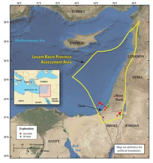 Levant oil and gas assessment area map