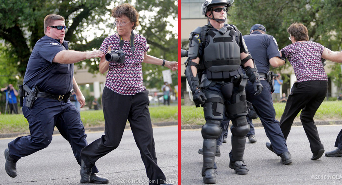 Gloria La Riva, third party candidate, among 100 arrested in Baton Rouge police attack.