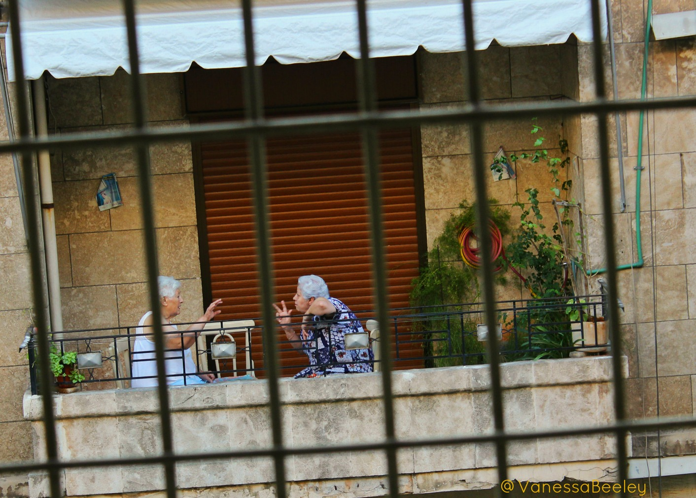 Two ladies have an animated chat at dawn in Aziziya, western Aleppo. (Photo by Vanessa Beeley)