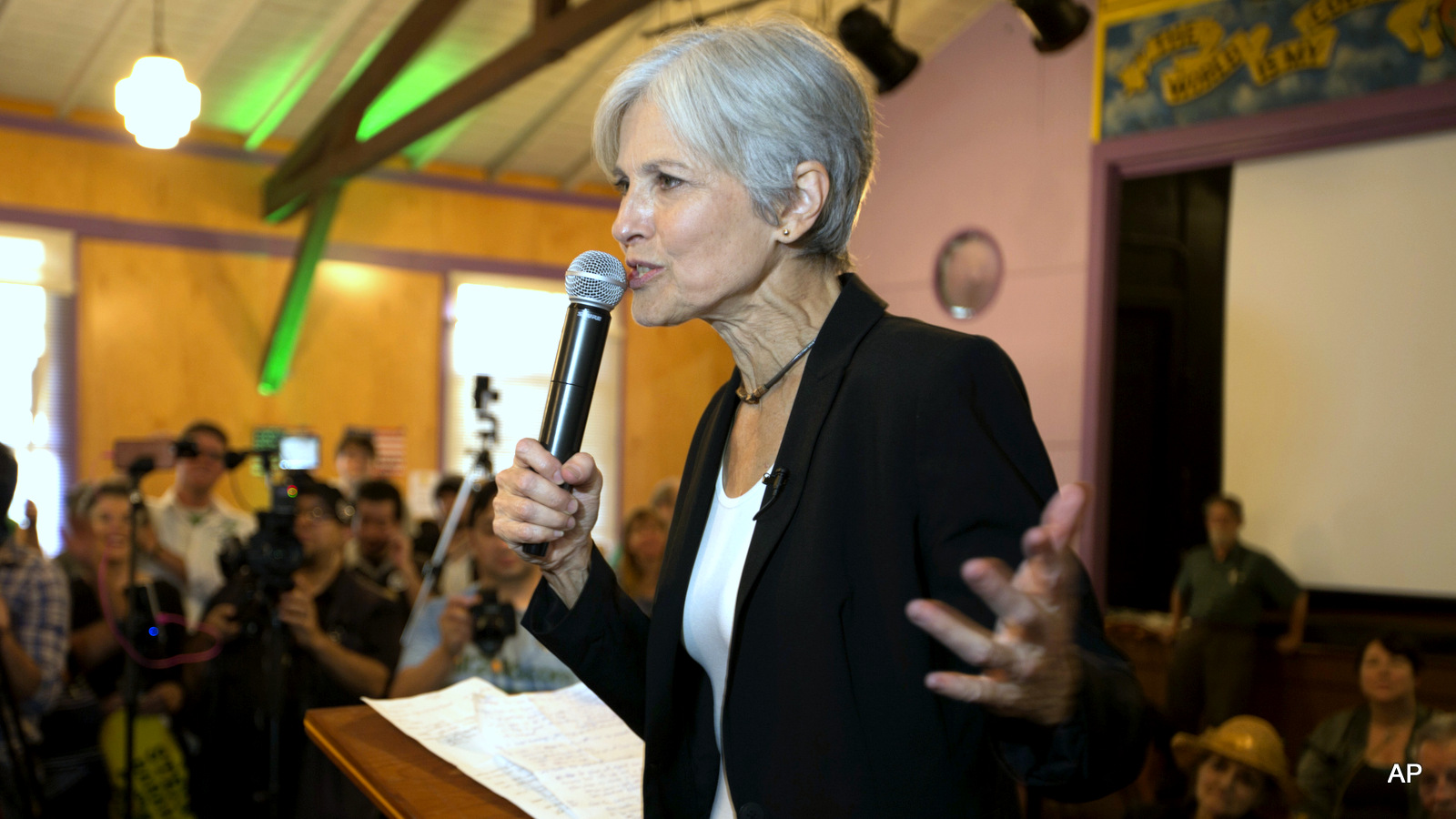 Green party presidential candidate Jill Stein delivers a stump speech to her supporters during a campaign stop at Humanist Hall in Oakland, Calif. on Thursday, Oct. 6, 2016.