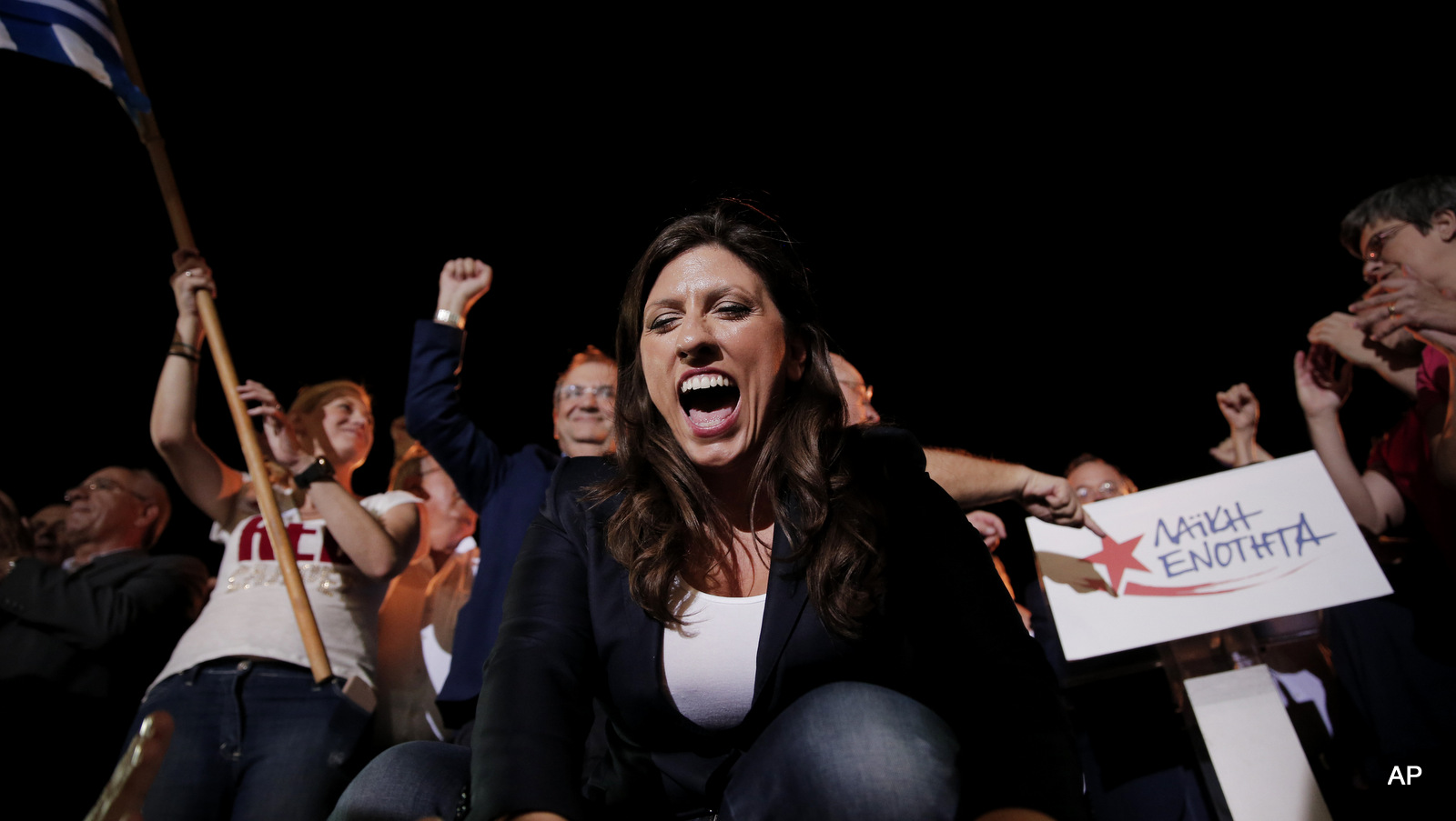 Zoe Konstantopoulou acknowledges the supporters during a pre-election rally, in central Athens, Tuesday, Sept. 15, 2015.