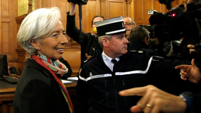 International Monetary Fund chief Christine Lagarde, right, arrives at the special Paris court, France. (AP/Thibault Camus)
