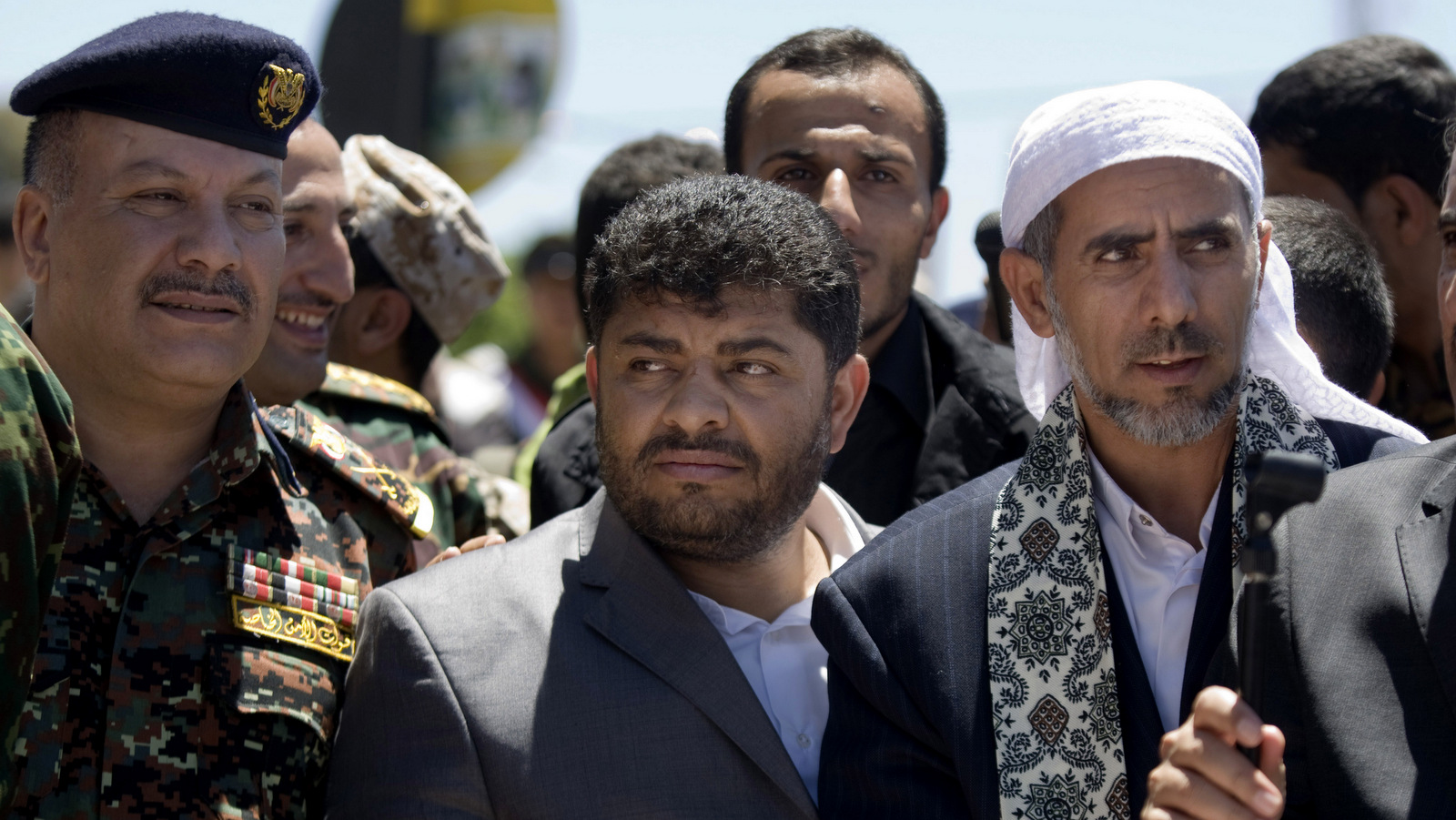 Mohammed Ali al-Houthi, who heads the Houthi rebels' powerful Revolutionary Council, center, attends the funeral procession of victims who were killed from triple suicide bombing attacks that hit a pair of mosques in Sanaa, Yemen.(AP/Hani Mohammed)