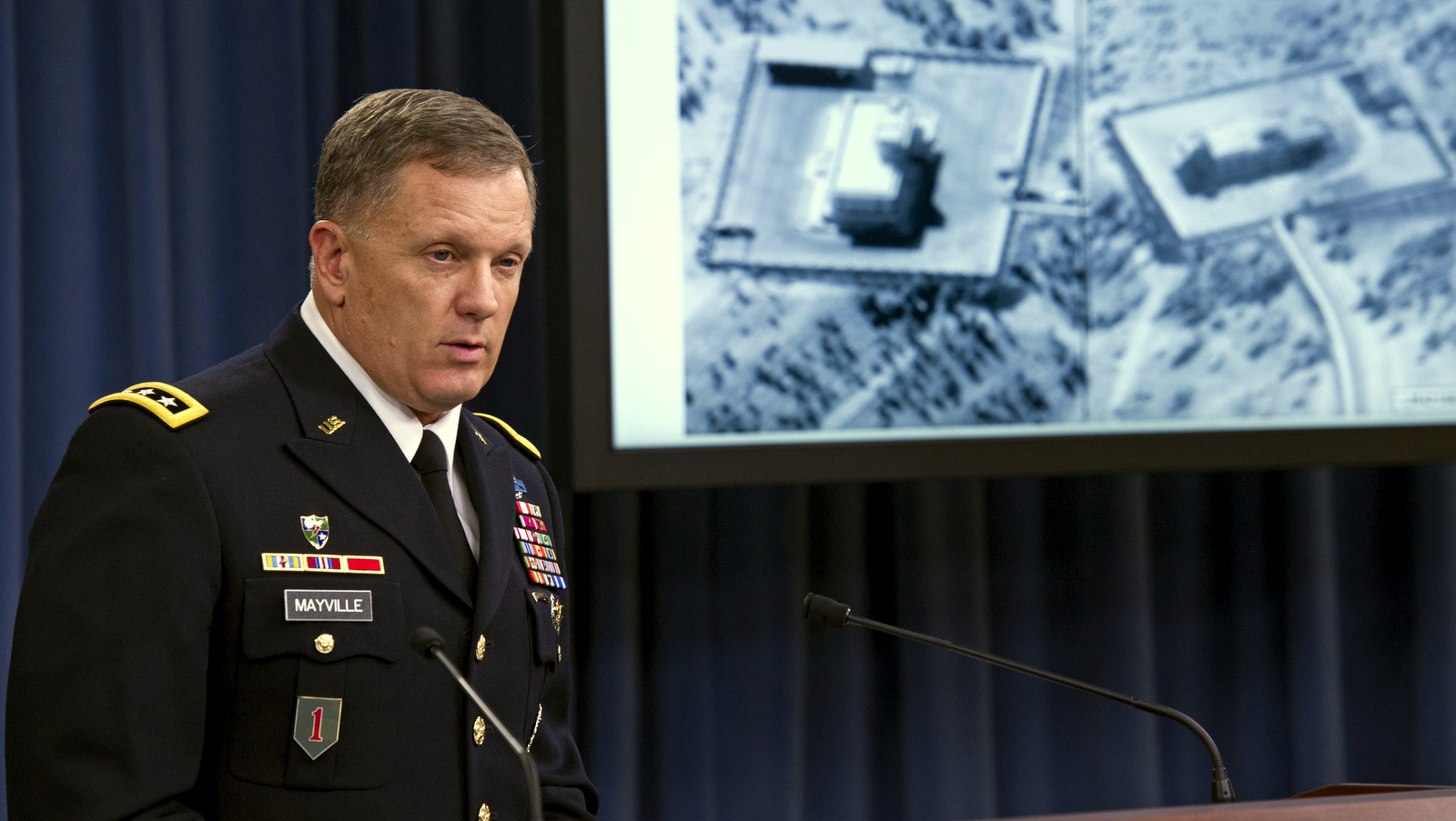 Army Lt. Gen. William Mayville speaks about US operations in Syria, following U.S. military strikes against 17 separate targets connected to an al-Qaida cell in Syria known as the Khorasan Group, U.S. officials say, Sept. 23, 2014. (AP/Cliff Owen)