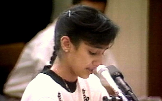 15-year-old Nayirah al-Ṣabah testifies in front of the Congressional Human Rights Caucus.