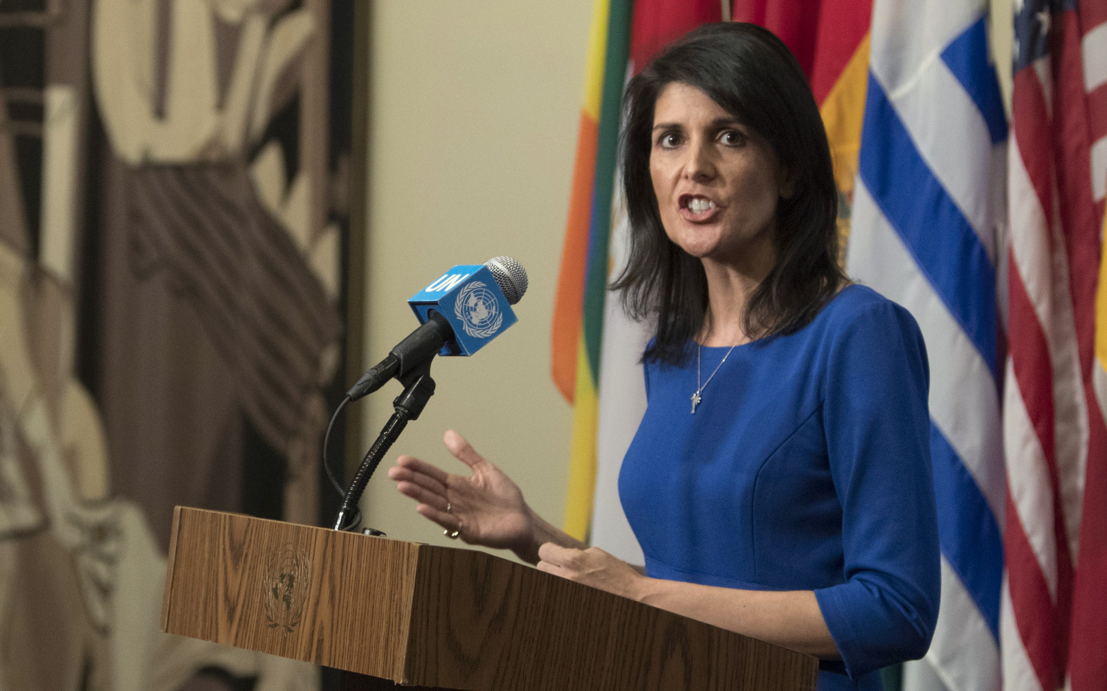 United States Ambassador to the United Nations Nikki Haley speaks to reporters after a Security Council meeting on the situation in the Middle East, Thursday, Feb. 16, 2017 at U.N. headquarters. (AP/Mary Altaffer)