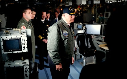 Donald Trump tours the nuclear aircraft carrier Gerald R. Ford, at Newport News Shipbuilding in Newport News, Va., Thursday, March 2, 2017. (AP/Pablo Martinez Monsivais)