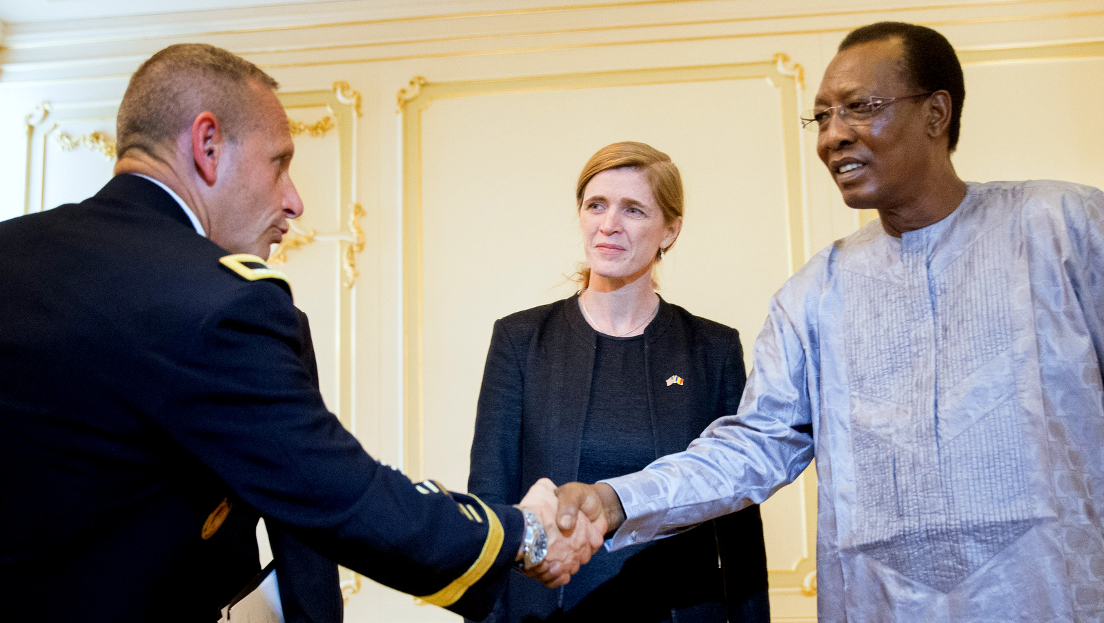United States Special Operations Command Africa Commander Brig. Gen. Donald Bolduc, left, accompanied by U.S. Ambassador to the United Nations Samantha Power, center, meets with President Idriss Deby Itno, right, at the presidential palace in N'Djamena, Chad, Wednesday, April 20, 2016. Power was traveling to Cameroon, Chad, and Nigeria to highlight the growing threat Boko Haram poses to the Lake Chad Basin region. (AP/Andrew Harnik)