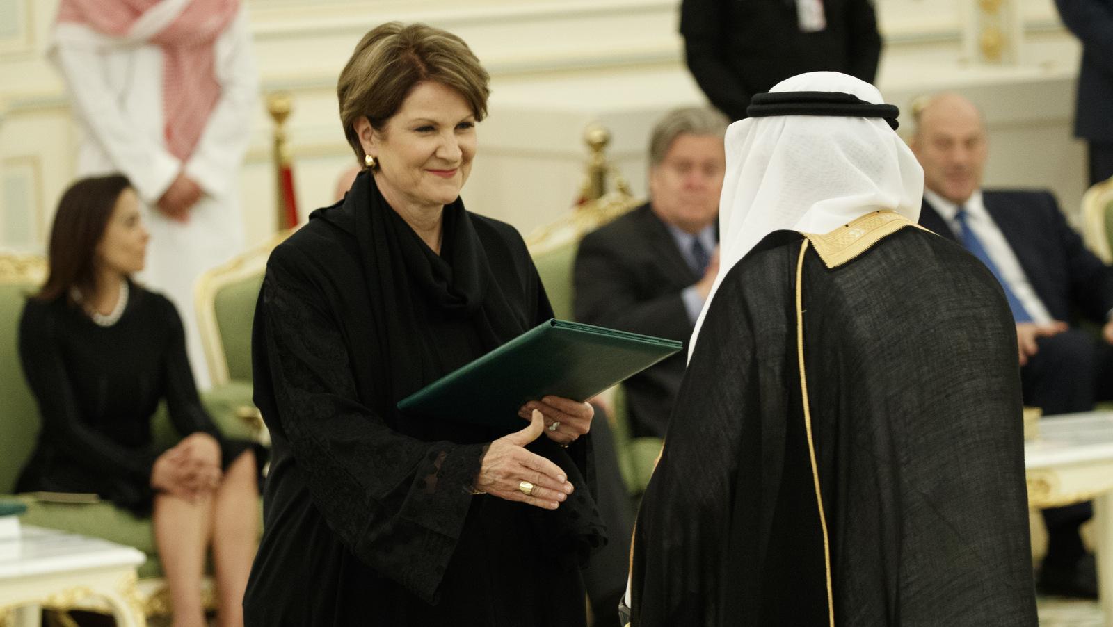 Lockheed Martin CEO Marillyn Hewson participates in a signing ceremony between President Donald Trump and Saudi King Salam at the Royal Court Palace, Saturday, May 20, 2017, in Riyadh. (AP/Evan Vucci)