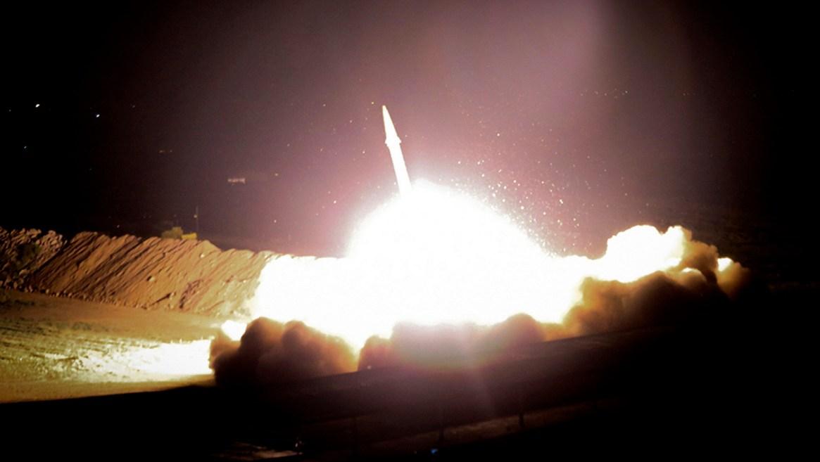 Iran's powerful Revolutionary Guard said it launched six Zolfaghar ballistic missiles from the western provinces of Kermanshah and Kurdistan. (Morteza Fakhrinejad/IRIB)