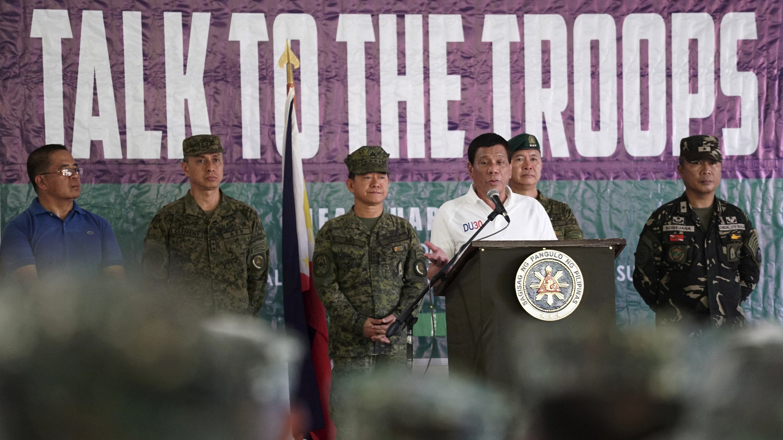 President Rodrigo Duterte, talks to troopers during his visit in Jolo, Sulu province, Mindanao, southern Philippines. (Presidential Communications Operations Office)