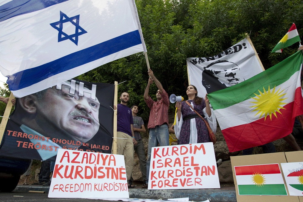Ethnic Kurdish Israelis protest outside the Turkish embassy in Tel Aviv, Israel, July 8, 2010.