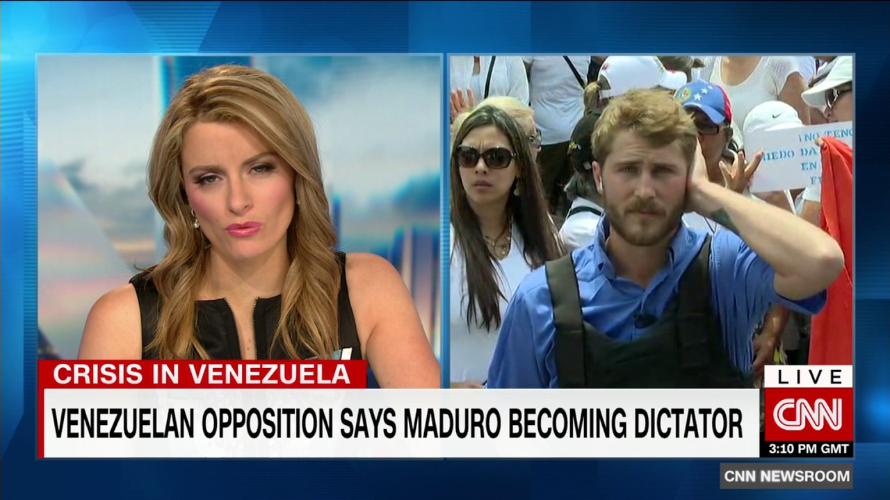 A screenshot of a CNN May 6, 2017 report covering opposition protests in Venezuela.