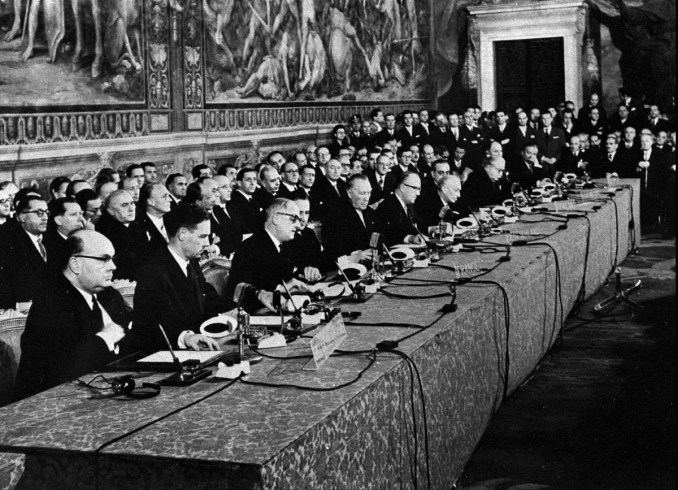 The signing, March 25, 1957, of the Treaty of Rome, creating the European Economic Community, forerunner of today's European Union. (AP Photo)