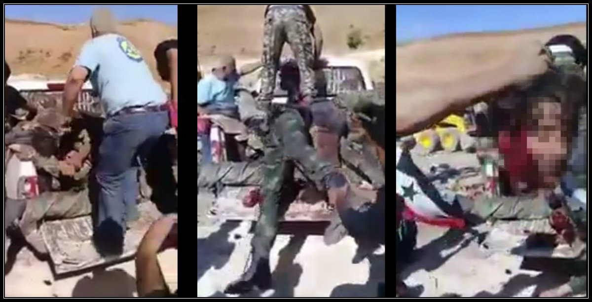 Screenshots of the execution and dismemberment of SAA prisoners of war, with a White Helmets operative in attendance and assisting extremist factions.