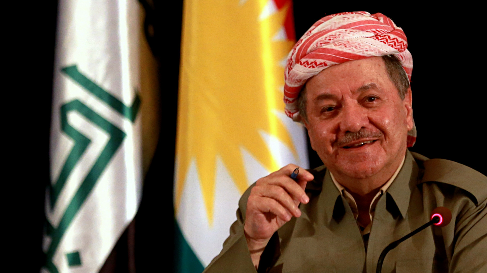 "Massoud Barzani, speaks to reporters during a press conference at the Salah al-Din resort, in Irbil, Iraq, Sunday, Sept. 24, 2017. Barzani said Sunday, that the controversial vote on independence will go ahead as planned and that while the vote will be the first step in a long process to negotiate independence, the region's ""partnership"" with the Iraqi central government in Baghdad is over. (AP Photo/Khalid Mohammed)"
