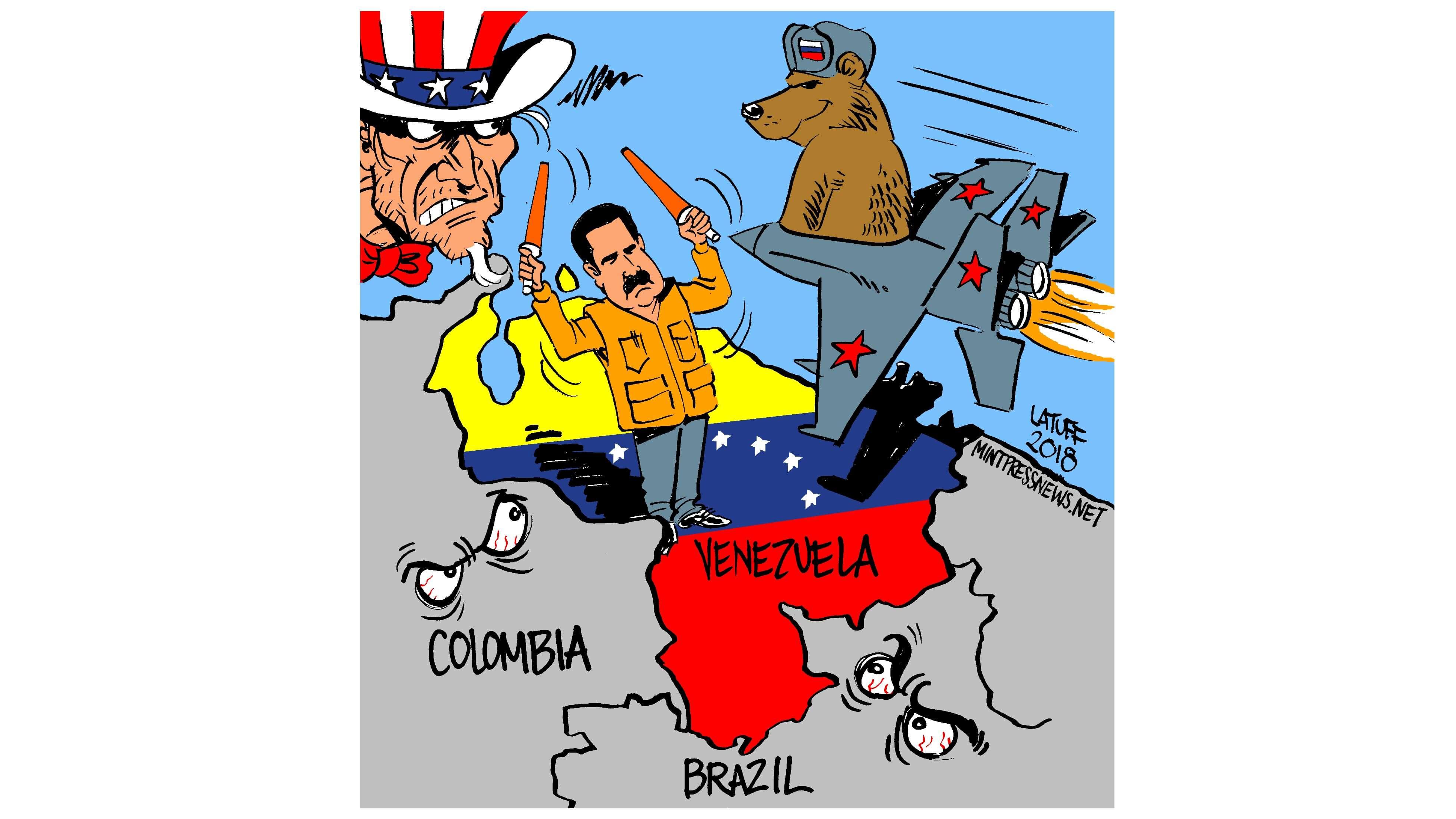 Russian combat planes arrive in Venezuela Cartoon by