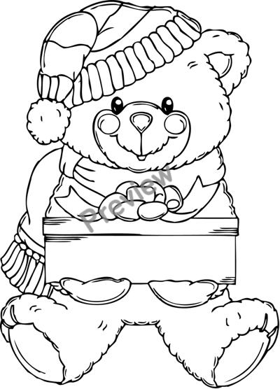 Free Printable Christmas Bear Coloring Page