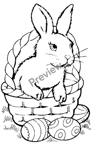 Free Printable Easter Bunny In Basket Coloring Page