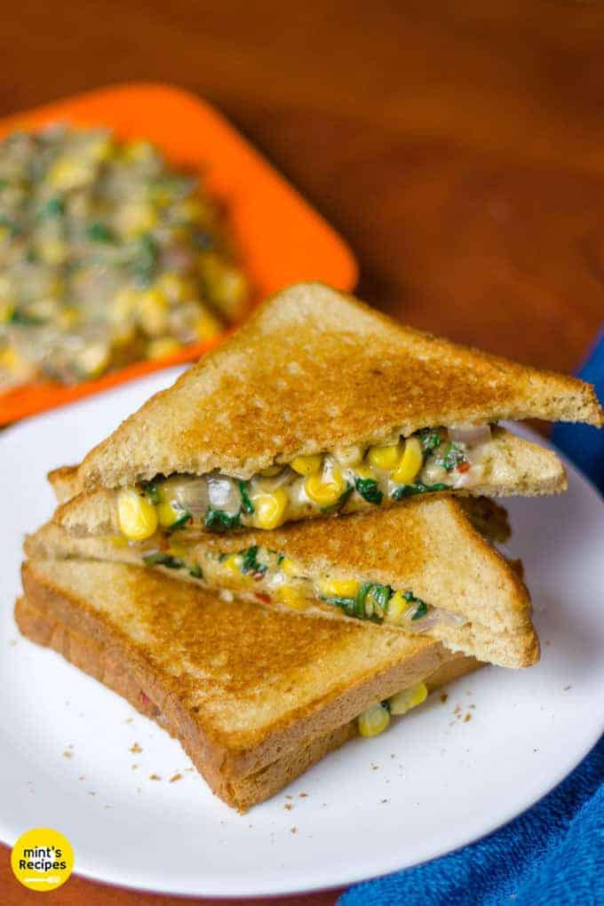 Spinach Corn Sandwich Recipe for Breakfast with cheese