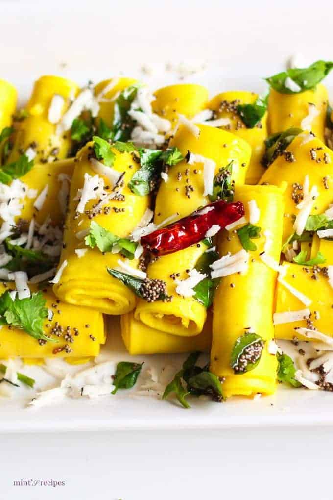 Khandvi Recipe | I LOVE this! A really simple and easy recipe to make at home with easy ingredients. | www.mintsrecipes.com