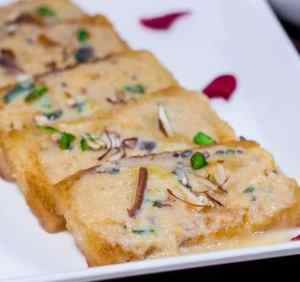Shahi Tukda Recipe served with chopped almonds and pistachios