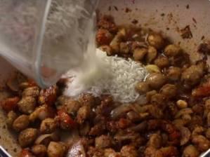 Socked rice in Pan