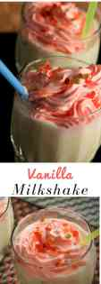 Vanilla milkshake on glass with some tutti fruity sprinkles on it with a strow on a dark background |