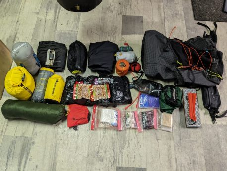 Rucksack contents with four days of dried food.