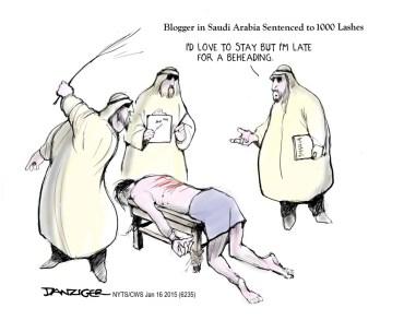 Saudi Arabia, punishments, beheadings, lashes, political cartoon