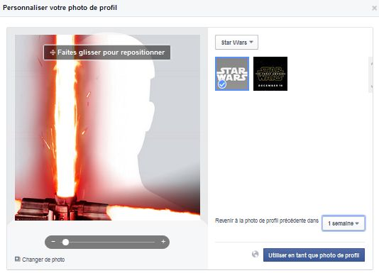 Essayer la photo de profil Star Wars