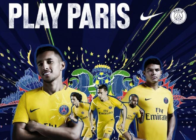 le psg d voile son maillot ext rieur de couleur jaune pour la saison 2017 2018. Black Bedroom Furniture Sets. Home Design Ideas