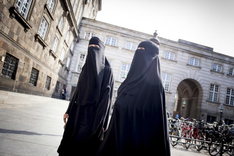Des femmes portant le niqab devant le parlement danois le 31 mai 2018