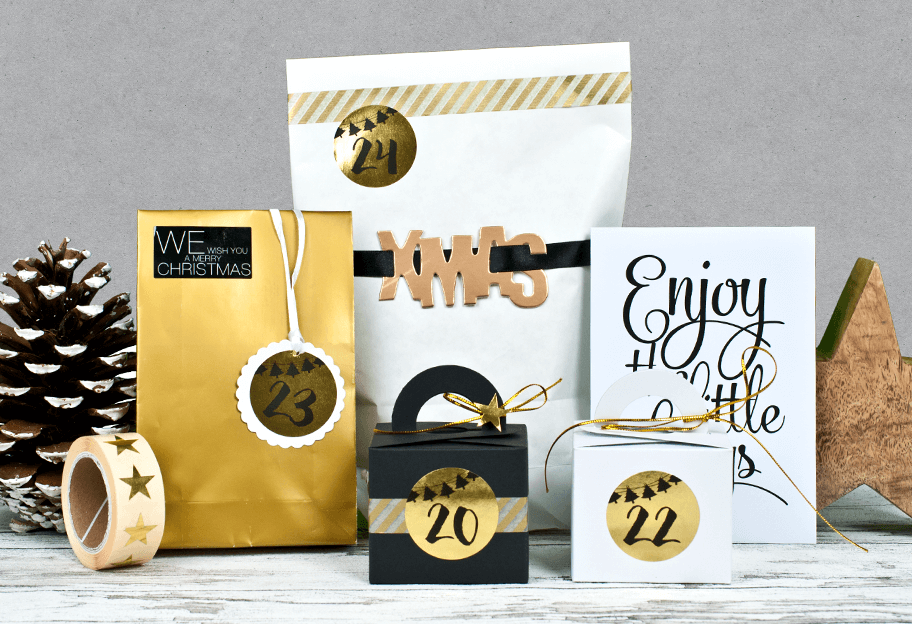 Ausgefallenes Adventskalender Set Golden Christmas