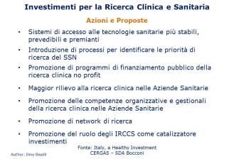 Investimenti per la ricerca clinica e sanitaria