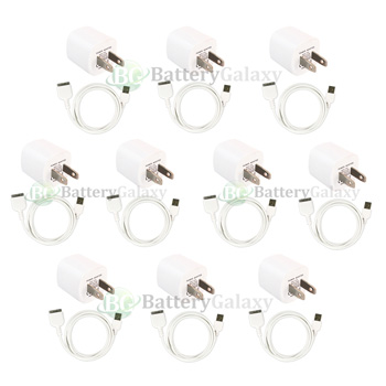 10 USB Wall Charger+Sync Cable for Apple iPod iPhone 3 3G