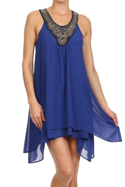 Vestido Azul Rey Con Aplicacion En Cuello Mipa Fashion